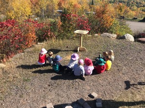 Young observers at Hawk Ridge platform feeder - Oct 2019 - thanks Myron Peterson for building feeders